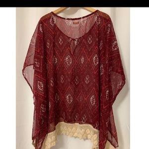 Hollister Bohemian Style Tunic/Poncho Crochet Hem